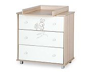 Klupś Safari Zajączek chest with changing table ecru-jesion