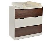 Tomi Komoda 3 szuflady z przewijakiem / kolor Biały/Orzech