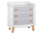 WYPRZEDAŻ Pinio Iga nakładki (tekstylia) w grochy na komodę 3 szuflady/ WYSYŁKA 24H