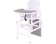 Nowość ! Drewex  Krzesełko do karmienia Antoś Miś i Motylek  srebrny / biały
