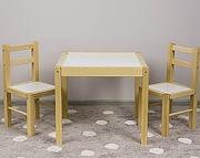 Drewex zestaw stolik + 2 krzesełka biały/sosna.