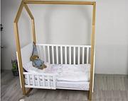 Nowość Drewex Mały domek łóżeczko 120x60 cm wyjmowane szczeble buk/biały.