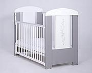 Drewex Gwiazdki łóżeczko 120x60 cm z opuszczanym bokiem / srebrno-białe.
