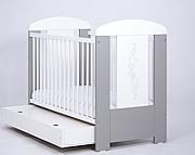 Nowość ! Drewex Gwiazdki łóżeczko 120x60 cm z szufladą srebrno-białe