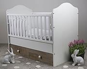 Nowość Drewex Basilio łóżeczko 120x60 cm z szufladą i opuszczanym bokiem dąb surowy / biały.