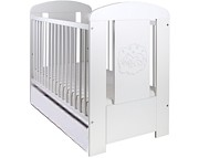 Drewex Miś Biały PREMIUM łóżeczko 120x60cm z szufladą i funkcją tapczanika.