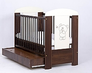 Drewex Miś i motylek łóżeczko 120x60 cm z szufladą / orzech.