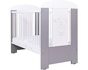 Nowość ! Drewex Miś i motylek łóżeczko 120x60 cm / srebrne.