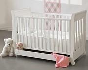 Troll Romantica łóżeczko 120x60 z szufladą z opuszczanym bokiem z litego drewna / białe / Kurier gratis przy przedpłacie