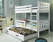 BMS Carino łóżko piętrowe 3-osobowe z 3 z materacami i pojemnikiem (200x90cm) / kolor biały/biały