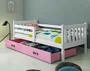 BMS Carino 1 Łóżko parterowe z materacem i pojemnikiem na pościel (190x80cm) / kolor biały/różowy