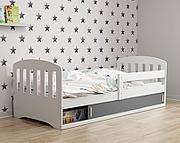 BMS Classic 1 Łóżko parterowe 160x80cm z materacem / kolor biały/grafit