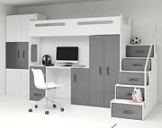 BMS Max 4 (jednoosobowe łóżko 200x80 na antresoli + biurko + szafa + materac + schody) / kolor grafit