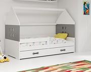 BMS Domi Łóżko parterowe w kształcie domku z materacem i pojemnikiem na pościel (160x80cm) / kolor biały/grafit