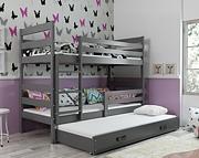 BMS Eryk łóżko piętrowe 3-osobowe z 3 z materacami i pojemnikiem (190x80cm) / kolor grafit/grafit