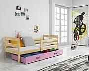 BMS Eryk Łóżko parterowe z materacem i pojemnikiem na pościel (190x80cm) / kolor sosna/różowy