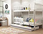 BMS Kubuś Łóżko piętrowe  z materacami i pojemnikiem na pościel (190x80c/ kolor biały/grafit
