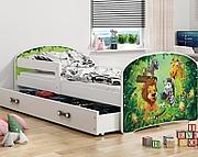 BMS Luki Łóżko z materacem i pojemnikiem na pościel (160x80cm)  / kolor biały/zielony