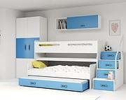 BMS Max 1 Łóżko piętrowe 3-osobowe z 3 materacami i pojemnikiem na pościel (200x80cm) / kolor niebieski