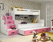 BMS Max 3 łóżko piętrowe 4-osobowe z materacami i pojemnikiem na pościel (200x80cm) / kolor różowy
