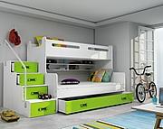 BMS Max 3 Łóżko piętrowe 3-osobowe z materacami i pojemnikiem na pościel (200x80cm) / kolor zielony