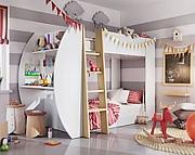 LENART Jerry łóżko piętrowe dla rodzeństwa z biurkiem i dwoma materacami 200x90cm