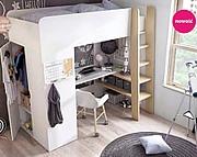 LENART Tom łóżko piętrowe z materacem bonelowym 200x90cm, biurkiem i szafą