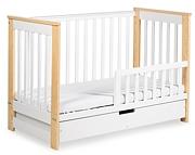 Klupś Iwo łóżeczko z szufladą 120x60cm + barierka / kolor biały/sosna.