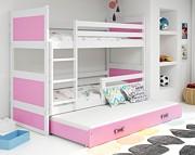 BMS Rico łóżko piętrowe 3-osobowe z materacami i pojemnikiem (200x90cm) / kolor biały/różowy
