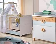 ATB Classic New pokój dziecięcy ( łóżeczko z szufladą 120x60 + komoda + przewijak ) szary sosna Kurier gratis przy przedpłacie
