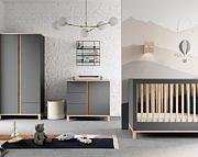 Baby Vox Altitude pokój dziecięcy (łóżeczko 120x60 + komoda z przewijakiem + szafa) grafit / Kurier gratis przy przedpłacie.