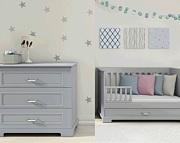 Bellamy Ines pokój dziecięcy (łóżeczko sofa 140x70 + komoda z przewijakiem) kolor szary *Kurier gratis przy przedpłacie