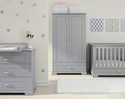 Bellamy Ines pokój dziecka (łóżeczko/sofa 140x70 + komoda z przewijakiem + szafa 2 drzwi) szary /Kurier gratis przy przedpłacie