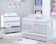 Klupś Dalia Grey pokój dziecięcy (łóżeczko z szufladą 140x70cm + komoda z przewijakiem).