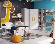 Lenart Bumerang pokój (łóżko 200x90 + materac + 2 drzw. regał szeroki + komoda 4 szuflady + biurko z nadstawką) / KURIER GRATIS