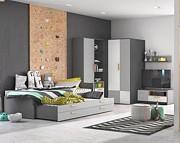 Lenart Pok pokój dla rodzeństwa (łóżko 200x90 z 2 materacami + komoda z 3 szufladami + dwudrzwiowa szafa) / KURIER GRATIS