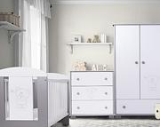 Nowość ! Drewex Miś i motylek srebrny łóżeczko 120x60 +komoda+szafa