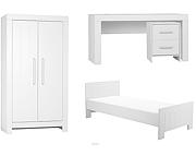 Pinio Calmo (łóżko 200x90 + szafa 2 drzwi + biurko z kontenerkiem) kolor biały / KURIER GRATIS! 15% taniej do 30 kwietnia.