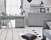 Pinio Calmo (łóżko 200x90 + szafa 2 drzwi + biurko z kontenerkiem) kolor szary. KURIER GRATIS! 15% taniej do 30 kwietnia.