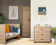 LittleSky by Klupś Amelia pokój dziecięcy (łóżeczko-sofa 120x60cm+komoda+szafa 2 drzwiowa) kolor dąb.