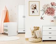 LittleSky by Klupś Amelia pokój dziecięcy (łóżeczko-sofa 120x60cm+komoda+szafa 2 drzwiowa) kolor biały.
