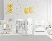 Klupś Nati koniczynka pokój dziecięcy (łóżeczko 120x60cm+komoda z przewijakiem) kolor biały/popiel.