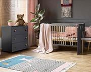 Klupś Paula Grafit pokój dziecięcy (łóżeczko 120x60cm + komoda z przewijakiem).