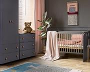 Klupś Pauline Grafit pokój dziecięcy (łóżeczko 120x60cm + komoda + przewijak + szafa 2 drzwiowa).