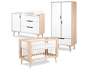 Promocja! LittleSky by Klupś Sofie pokój dziecięcy (łóżeczko 120x60 BUK +komoda+przewijak+szafa) .