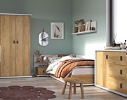 Lenart Massi pokój młodzieżowy (łóżko 200x90 cm + komoda 3s1d + szafa 2 drzwiowa) MS-02, 05, 09L (lewe) KURIER GRATIS