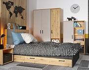 Lenart Qubic pokój młodzieżowy (łóżko 200x90cm + szafa 3 drzwiowa + regał 1 drzwiowy) KURIER GRATIS