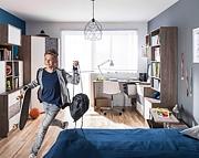 LENART Meble młodzieżowe Tecto (łóżko 200x90+materac,szafa, komoda,biurko)