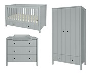 Novelies Allpin pokój dziecka (łóżeczko/sofa 140x70 z szufladą + komoda z przewijakiem + 2 drzwiowa szafa) szary KURIER GRATIS