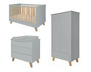 Novelies Zara pokój noworodka (łóżeczko sofa 140x70 + komoda z przewijakiem + szafa 2 drzwiowa) kolor szary KURIER GRATIS